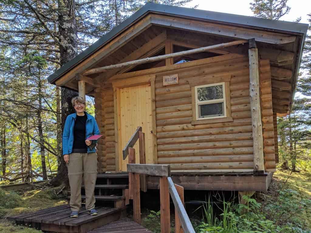 Jan at cabin at Glacier Lodge